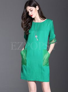 Shop for high quality O-Neck Pocket Patch Skinny Dress online at cheap prices and discover fashion at Ezpopsy.com