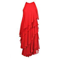 Halston Chiffon Cocktail Dress