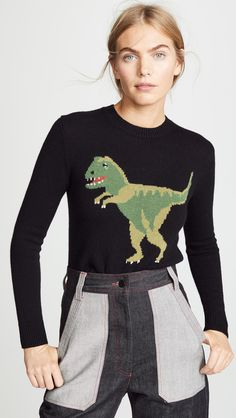 New Coach 1941 Rexy Intarsia Sweater online - Topprofashion Dinosaur Sweater, Coach 1941, Cozy Fashion, China Fashion, Sweater Weather, Sweaters For Women, Mini Skirts, Clothes For Women