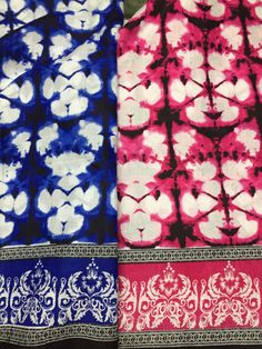 Watercolor print, Blue Black and White, Fuchsia Pink, Ornate Printed Border,  Indian Cotton, Floral Border, by the yard,  sewing fabric by fiberstofabric. Explore more products on http://fiberstofabric.etsy.com