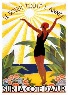 Reclameposter Côte d'Azur: Le Soleil Toute L'année Affiches van Roger Broders - bij AllPosters.be