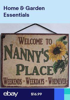 Grandmas Antique Little Girls Novelty Wooden Hanging Heart Funny Nanny Plaque