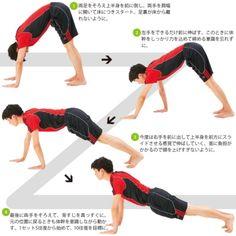 コアトレーニング~体幹ハンドウォーク 一見すると腕力をつける筋トレのようだが、ここで重要なのは体幹、つまり腹部の筋肉を緊張させるように意識すること。腹筋群をしっかり締めつけなければ、上半身が下がってしまう。体幹をぐっと締めて固定し、腕で上半身を軽く前に運ぶ感覚で動作するようにしよう。