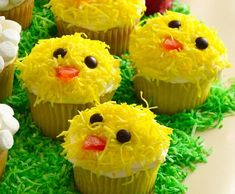 Easter Chick Cupcakes Recipe Cupcakes 1 box Betty Crocker® SuperMoist® yellow or devil's food cake mix Water, vegetable oil and eggs called for on cake mix box Frosting and Decorations 2 1/2 cups shredded coconut Yellow liquid food color 1 container Betty Crocker® Rich & Creamy vanilla frosting 48 brown miniature candy-coated chocolate baking bits 24 small orange gumdrops