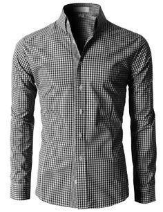 Doublju Men's Casual Stripe Patterned Button Down Shirts With Long Sleeves (KMTSTL0121) #doublju