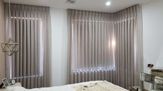 Master Bedroom Sheer Curtain and Roller Blinds - Majestic Curtains and Blinds Living Room Blinds, Curtains Living, Curtains With Blinds, Panel Curtains, Black Sheer Curtains, Sheer Curtain Panels, Home Interior Design, Interior Decorating, Made To Measure Curtains