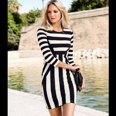 Black & White Optical Illusion Dress Super cute black and white striped dress. Optical illusion makes waist appear slimmer :D -Size M. -Never worn.  NO Trades. Please make all offers through offer button. Boutique Dresses