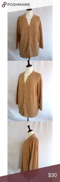 "Coldwater Creek Size 2X Beige Cardigan Sweater Size 2X (20-22) 79% cotton, 21% nylon Beige / tan All season Buttons down the front Machine washable Beautiful, high quality cardigan Check out my other listings.  I love to bundle!  Measurements laying flat:  Armpit to armpit:  26"" Length:  26.5"" Sleeves: 20"" Coldwater Creek Sweaters Cardigans"