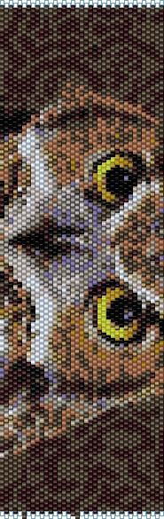 "Owl 1"" was created in even count, peyote stitch using Miyuki Delica, size 11 seed beads 29 colors"