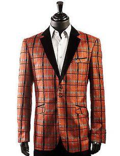 Angelino Rust Plaid Men Tuxedo Dress Party 2 Button Trending Casual Dress Blazer - shopbigtime.com - 1