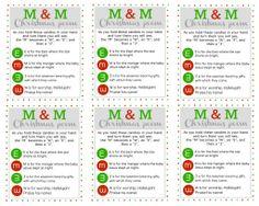 M & M Christmas Poem Tags