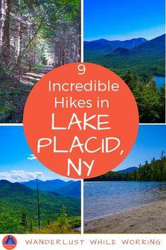 Adirondacks Lake Placid Hiking Challenge - Wanderlust While Working Lake Placid New York, Lake George Village, Summer Vacation Spots, Fun Winter Activities, Wanderlust, Best Hikes, Lake Life, Hiking Trails, Hiking Usa