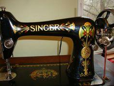 My Singer 66-1, beautiful treadle machine made in 1908. Brown Lotus decals.