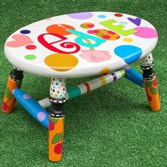 Colorful Personalized Hand Painted Stool Polka Dots and Hearts and Cherries Fun Stool For Children Nursery Decor Painted Kids Chairs, Hand Painted Stools, Whimsical Painted Furniture, Hand Painted Furniture, Funky Furniture, Recycled Furniture, Unique Furniture, Kids Furniture, Painted Tables