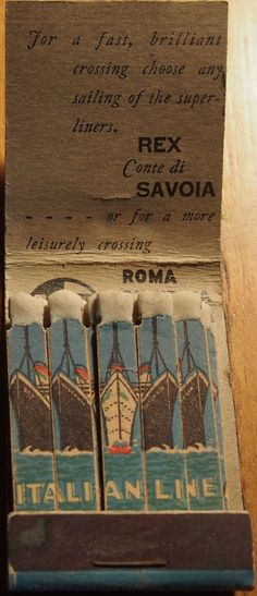 Italian Line matchbooks