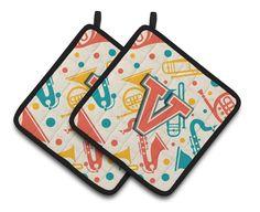 Letter V Retro Teal Orange Musical Instruments Initial Pair of Pot Holders CJ2001-VPTHD
