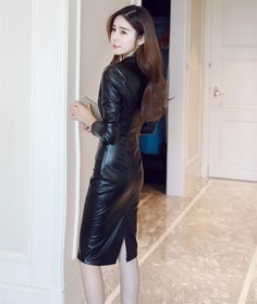 Spring Autumn Leather Dress Women Long Sleeve Black Sexy Slim A-Line PU Dress Lace Hollow Patchwork Office Party Dresses _ {categoryName} - AliExpress Mobile Version - Cheap Dresses, Sexy Dresses, Office Party Dress, Leder Outfits, Dress Stand, Leather Dresses, Leather Skirts, Leather Fashion, Well Dressed