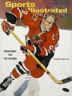 Bobby Hull, Chicago Blackhawks, SI cover illustration by Robert Handville, January Blackhawks Hockey, Hockey Teams, Chicago Blackhawks, Hockey Players, Hockey Stuff, Ice Hockey, Hockey Sport, Chicago Bears, Si Cover