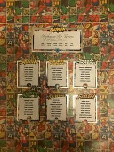 Marvel Wedding Table Plan Cards by CarbonCreationsUK on Etsy