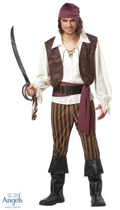 Almost everything you need to become the Rogue Pirate you've always dreamed of is included in this costume. Cut for comfort and ease this pack contains a Shirt with attached Vest, Elasticated Trousers, Bandana, Belt, Waist Sash and fetching faux leather Boot tops to boot.  http://www.fancydress.com/costumes/Rogue-Pirate-/0~4518976~12