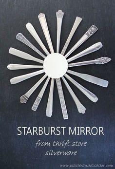DIY Sunburst Mirror From Thrifted Silverware