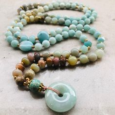 Amazonite mala necklace - Courage and spirit calming Crystal Magic, Crystal Healing, Moon Jewelry, Calming, Necklace Lengths, Jasper, Beaded Bracelets, Spirit, Gemstones