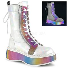 c49bab0a4 Emily 350 Goth White Brushed Patent Ankle Boot Rainbow Flat-form PRE-ORDER. Totally  Wicked Footwear · Totally Wicked FootwearDemonia Alternative Shoes ...