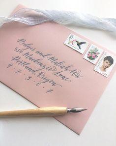 Light dusty rose envelopes for wedding invitations with grey calligraphy and vintage postage Calligraphy Envelope, Envelope Art, Envelope Design, Calligraphy Fonts, Script Fonts, Wedding Invitation Envelopes, Addressing Envelopes, Pastel Pink Weddings, Letter Photography