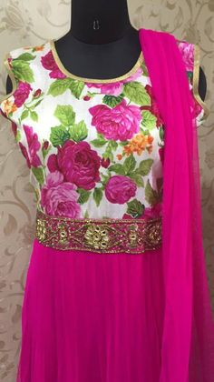 Pink Floral Anarkali Bollywood Replica Designer India Pakistan Fashion New 2015 | eBay