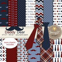 Father's Day Digital papers Necktie Mustache by JennyLDesignsShop