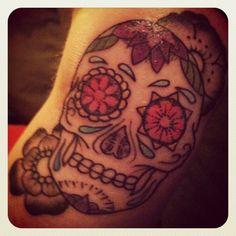 dear friend Jeremiah by Pat @ Brooklyn Tattoo. Day of the Dead 2012 Matching Friend Tattoos, Brooklyn Tattoo, Day Of The Dead, Dear Friend, Sugar Skull, Tattoo Inspiration, Tatting, Ink, Day Of Dead