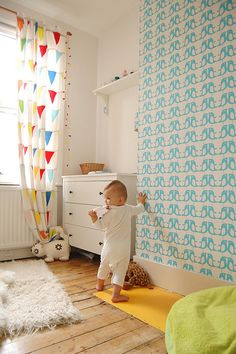 Love this baby room in the London home of Laura Aziz. Shelves, dresser and Ikea curtains too. (I almost ordered those.) She not only has a cute nursery, but a cute little shop too! Baby Bedroom, Nursery Room, Boy Room, Girls Bedroom, Ikea Nursery, Bedrooms, Ideas Habitaciones, Nursery Patterns, Deco Kids
