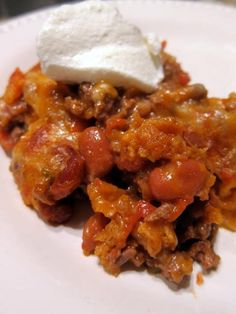 Easy Mexican Casserole - tortilla chips, taco meat, beans, tomatoes and cheese - top with your favorite taco toppings! Can make ahead and freeze for later. Easy Mexican Casserole, Easy Casserole Recipes, Casserole Dishes, Taco Casserole, Chicken Casserole, Taco Bake, Meat Recipes, Mexican Food Recipes, Cooking Recipes