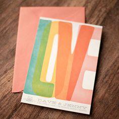Rainbow wedding invite by Magpie Paper #weddings #rainbow