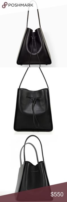 """3.1 Phillip Lim Large Soleil Bucket Bag Brand new item still in its original packaging. Luxurious large bucket drawstring bag that will be a great addition to your wardrobe. Black leather Soleil Large Drawstring Bucket Bag with gunmetal hardware, tonal stitching, single flat top shoulder strap, black woven lining, single zip pochette at interior and drawstring closure at top. The large bucket leather bag includes a drawstring cinch and slip-out pouch 100% Leather 12.5""""H X 11.75""""W X 5.5""""D 8'…"""