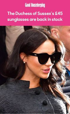 The Duchess of Sussex's sunglasses from Le Specs are finally back in stock after repeatedly selling out - and we are desperate to snap up the classic frames Le Specs Sunglasses, Heart Sunglasses, Black Sunglasses, Sunglasses Women, Royal Fashion, Retro Fashion, Nude Court Shoes, French Brands, Royal Style