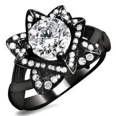 Noori 14k Black Gold 1ct Round Diamond Lotus Flower Engagement Ring - Free Shipping Today - Overstock.com - 16031384 - Mobile
