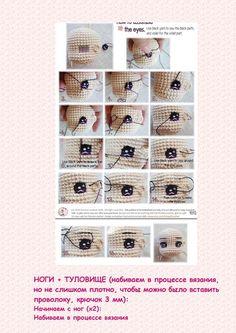 4 sayfa ( 4 pages ) - Her Crochet Crochet Dolls Free Patterns, Crochet Doll Pattern, Doll Patterns, Crochet Eyes, Crochet Baby, Handmade Soft Toys, Knitted Dolls, Diy Doll, Yarn Colors