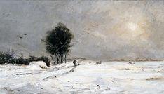 Charles DAUBIGNY   A snow scene, Valmondois [Neige près de Valmondois]