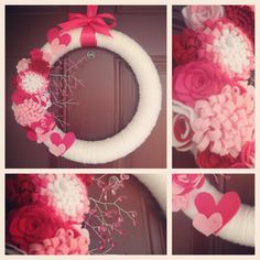 Valentine's wreath - yarn wrapped styrofoam wreath with felt hearts and flowers