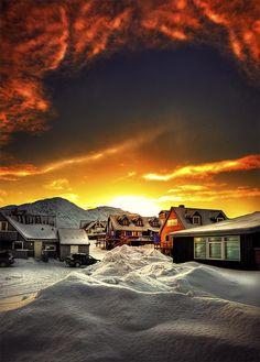 a wintery sunrise, Nuuk, Greenland