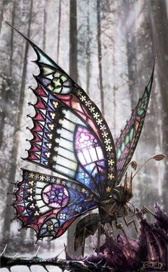A gothic Steampunk Butterfly. Why not in miniature. The Gothic Butterfly by David Aguirre Art Nouveau, Stained Glass Art, Mosaic Glass, L'art Du Vitrail, Steampunk Kunst, Gothic Steampunk, Steampunk Wings, Steampunk Cosplay, Steampunk Accessoires