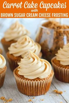 Carrot Cake Cupcakes - Celebrating Sweets Carrot Cake Cupcakes - Tender and fluffy, lightly-spiced Carrot Cake Cupcakes topped with a rich Brown Sugar Cream Cheese Frosting. Everyone loves this tasty twist on traditional Carrot Cake. Köstliche Desserts, Best Dessert Recipes, Cupcake Recipes, Baking Recipes, Delicious Desserts, Yummy Food, Recipes Dinner, Carrot Spice Cake, Carrot Cake Cupcakes