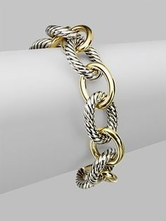 David Yurman Chain Link Bracelet Sterling Silver And Gold Love I Jewelry