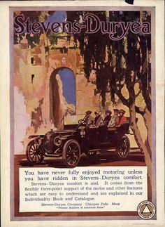 STEVENS-DURYEA Ad 1912 travel TOURING CAR brass era AUTOMOBILE open car RUINS