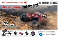 [Equipped with engine sound system] THUNDER TIGER 2.4GHz KAISER eMTA Electric Monster Truck 1/8 Scale 4WD (Ready-To-Run: RTR) | GoPro/Camera Compatible | Battery & Charger not included. | Range of Color Scheme: [BLACK/Matt: F111] or [RED/Glossy: F112]