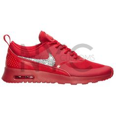 Red Nike Air Max Thea Swarovski Crystal Accent Bling Blinged Out ($155) ❤ liked on Polyvore featuring accessories, grey and shoes