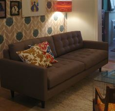 Reclining Sofa Brown Leather l Nixon Leather Sofa l Thrive Furniture l Handmade Midcentury Modern l Made in America Tropical chic Pinterest Leather sofas