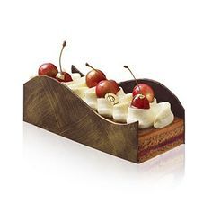 """""""Black Forest"""" Christmas Yule Log by Laurent Duchene Beaux Desserts, Fancy Desserts, Delicious Desserts, Christmas Yule Log, Christmas Desserts, Single Layer Cakes, Chocolate Pastry, Black Forest Cake, Baking And Pastry"""