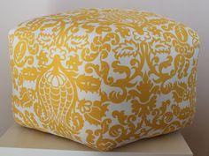 """24"""" Ottoman Pouf Floor Pillow Yellow White Amsterdam. $105.00, via Etsy."""